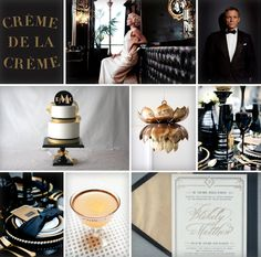 Creme de la Creme Art Print via Uncovet, 920's Inspired Bride via Little Miss Wedding UK, James Bond via It's a Bride's Life with David Tutera, Art Deco cake topper available on Etsy via Mazel Moments, Gold Pendant Light via Laure Joliet, Tabletop Designs by Dooby Design and Photographed by Aruna B via Style Me Pretty, Champagne Cocktail and Art Deco Inspired Wedding Invitation via Oh So Beautiful Paper