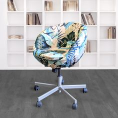 IKEA SKRUVSTA Chair Slip Cover, Jungle Teal Pink Tropical Banana Leaf | affordable, designer, custom, handmade, trendy, fashionable, locally made, high quality Teal And Pink, Blush Pink, Ikea Office Chair, Pink Banana, Beautiful Cover, Slipcovers For Chairs, Leaf Prints, Seat Cushions, Tropical