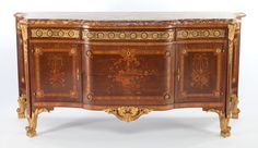 Furniture : French, A FRENCH LOUIS XVI-STYLE MAHOGANY, SATINWOOD AND GILT BRONZESIDEBOARD . Circa 1900. 37-3/4 x 78-1/2 x 25 inches (95.9 x 199...