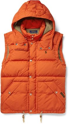 Polo Ralph Lauren Elmwood Down-Filled Quilted Hooded Gilet, Give weekend looks a vibrant finish with Polo Ralph Lauren 's bright orange gilet. The autumn-ready style is made from durable quilted nylon and filled with down and feather for cosy protection against chilly days. Cut for a relaxed fit, it's ideal for layering over flannel shirts or thick sweaters. Team yours with a chambray and chinos.