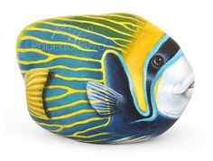 I Painted this Fantastic Emperor Angel Fish on a Rare Shaped Natural Sea Rock. It is One of my Favourites Stone Painted Artworks. An Unrepeatable