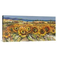Global Gallery 'Campo di Girasoli' by Luigi Florio Painting Print on Wrapped Canvas