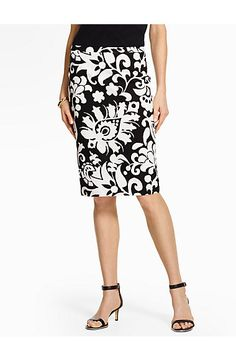 e1c4700407 Bold Flower Paisley Pencil Skirt - Talbots Sixties Fashion, Petite Size,  White Skirts,