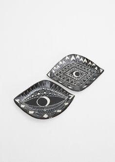 Demetria Chappo Ceramics Set of Two Sgraffito Spirit Eye Tapas Plates in Black Onyx #totokaelo #demetriachappo