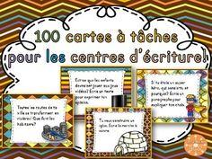 100 cartes à tâches pour le centre d'écriture. Différents genres de textes traités: argumentatif, descriptif, narratif, marche à suivre, affiches, poèmes.