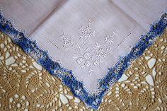 Wedding Handkerchief Wedding Hankerchief Blue Crochet by GoldDaisy, $10.00