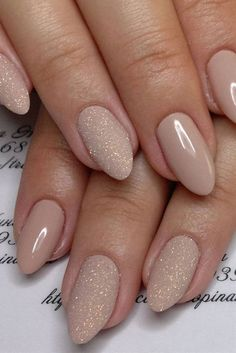 Nude And Glitter Wedding Nails