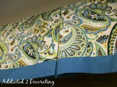 Lined Valance With Contrasting Fabric Band from Addicted2Decorating.com for the library window