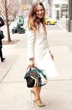 SJP smiles through the flurries in NYC debuting her shoe collection for Nordstrom's on Feb. 26