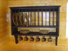 Handmade Rustic Country 12 Slot Plate Rack** ** Black & Handmade Black Rustic Plate Rack New | Plate racks and Kitchens
