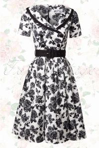 Bunny 50s Black and White Roses Swing Dress 102 59 14646 20150319 0007