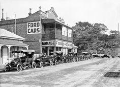 Ford cars outside the Chavannes Garage, Wanganui, New Zealand. 1915