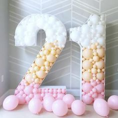 Number Balloons, Letter Balloons, Birthday Balloon Decorations, Birthday Balloons, 21st Party Decorations, 21st Balloons, Partys, Balloon Garland, First Birthdays
