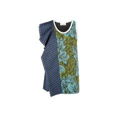 3.1 Phillip Lim Cascading Ruffle and Jacquard Tank Top (17,460 THB) ❤ liked on Polyvore featuring tops, floral print tank top, blue striped tank top, scoop neck tank top, striped top and stripe tank top