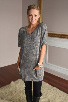8ee811703e0 Feel Good Tunic Top ~ Charcoal – The Pulse Boutique Long Shirt Outfits