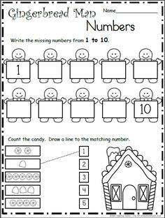Gingerbread Man Number Practice - 1 to 10
