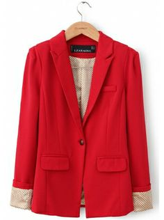 red long sleeve stand-up neck single-breasted cotton blends suit $33.99 www.clothesway.net