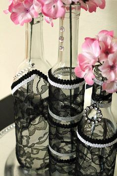 SET3 Decorated Wine Bottle Centerpiece Black Lace by DazzlingGRACE