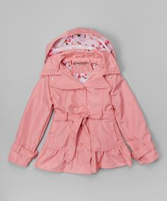 Candy Pink Ruffle Hooded Trench Coat - Infant, Toddler & Girls