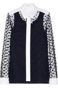 Chloé | Polka-dot embroidered mesh and piqué blouse | NET-A-PORTER.COM