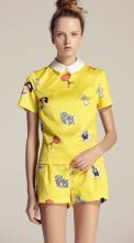 Yellow Short Sleeve Contrast Collar Furnitures Print Tops with Shorts