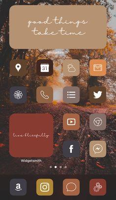 Warm Fall Aesthetic iPhone iOS 14 App Icons Home Screen Inspo Inspiration Widgetsmith Iphone App Design, Iphone App Layout, Iphone Wallpaper App, Iphone Backgrounds, Mobile Wallpaper, Wallpaper Backgrounds, Iphone Home Screen Layout, Ios Update, New Ios