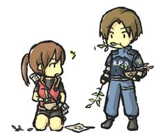 Leon and Claire Couple Site Resident Evil Video Game, Resident Evil Game, Albert Wesker, Kawaii Chibi, Cute Chibi, Resident Evil Collection, Leon S Kennedy, E Claire, Jill Valentine