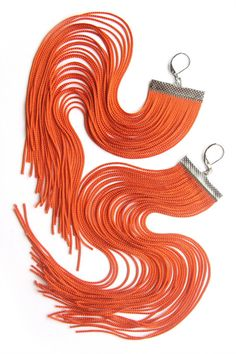 Orange Long Fringe Earrings by lazysundaysshop on Etsy, $20.00