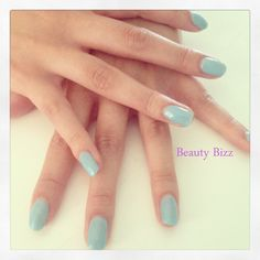 CND #shellac nails in blue colour called Azure wish.