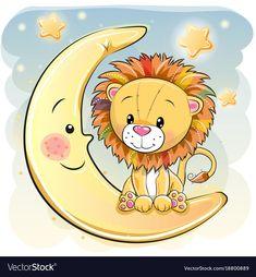 Cute Cartoon lion on the moon. Cute Cartoon Lion is sitting on the moon royalty free illustration Cartoon Cartoon, Moon Cartoon, Cartoon Characters, Cartoon Unicorn, Cartoon Mignon, Baby Animals, Cute Animals, Moon Vector, Lion Drawing