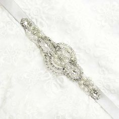 Satin/organza pearl/Rhinestone Bridal by whitegardenlace on Etsy, $27.99
