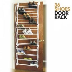 0706b378b6e 36-Pair White 6486-1746-WHT Whitmor Over The Door Rack-36 Fold Up Non Slip  Bars Shoe Rack