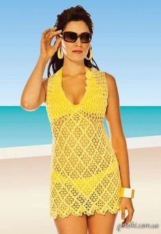 Crochet Beach Cover-Up & Bikini ~ Diagrams/Charts with general instructions ~ Not in English | Купальник и пляжное платье крючком. Схемы
