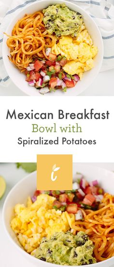Mexican Breakfast Bowl with Spiralized Potatoes — Inspiralized Mexican Breakfast, Paleo Breakfast, Breakfast Bowls, Best Breakfast, Breakfast Recipes, Breakfast Sandwiches, Breakfast Pizza, Pancake Recipes, Breakfast Potatoes