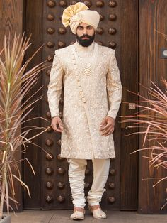 Shop Terry rayon cream color wedding wear indo western online from India. Sherwani For Men Wedding, Wedding Dresses Men Indian, Wedding Outfits For Groom, Sherwani Groom, Mens Sherwani, Wedding Dress Men, Punjabi Wedding, Indian Weddings, Wedding Wear