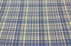 "COVINGTON ALDERLEY BLUE YELOW STRIPE PLAID WOVEN FABRIC BY THE YARD 54""W #Covington5thAveDesign"