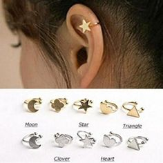 Cheap no piercing clip earrings, Buy Quality no pierce directly from China no pierced ear cuff Suppliers: 2014 Fashion Golden Silver Copper Metal Moon Clover Star Heart Triangle No Pierced Clip Earrings Ear Cuffs For Women Boucle Gold Fashion, Star Fashion, New Fashion, Fashion Jewelry, Fashion Beauty, Fashion Accessories, Clip On Earrings, Women's Earrings, Heart Earrings