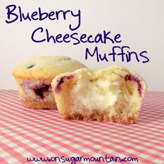 Blueberry Cheesecake Muffins - On Sugar Mountain
