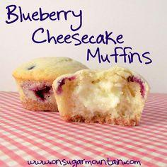 Blueberry Cheesecake Muffins - On Sugar Mountain