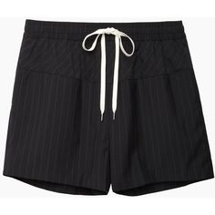 Alexander Wang Pinstriped Boxer Short ($180) ❤ liked on Polyvore featuring shorts, bottoms, pants, short, relaxed shorts, pinstripe shorts, alexander wang, short shorts and drawstring shorts
