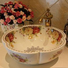 China Pintura peônia Pintura Arte Cerâmica lavatório Lavabo Banheiro Navio Pias bancada Rodada cerâmica moderna em de no AliExpress.com | Alibaba Group