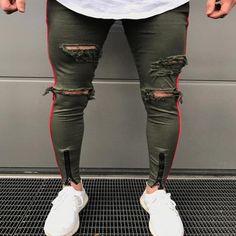 2018 Hip Hop Ripped Jeans for men Side Striped Denim Pants destroy Hole skinny jeans Men's trousers bottom zip track pants Cut Up Jeans, Denim Jeans, Ripped Jeans Men, Biker Jeans, Tapered Jeans, Jeans Style, Popular Mens Jeans, Maroon Jeans, Punk