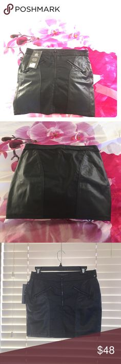 """Rock & Republic Skirt Size: 30"""" waist (NWT) Rock & Republic Skirt (NWT) - tag has 2, but runs very big, see below for measurements, reason why I didn't list as 2   Approx. Measurements  Waist: 30"""" Length: 14 1/2"""" Color: Black  Material: Cotton, Polyester, Spandex Specific Condition Details: New With Tag, Great Condition Rock & Republic Skirts"""