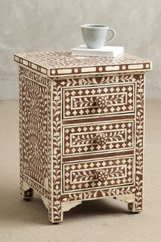 Anthropologie Bone Inlay Nightstand