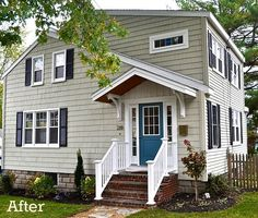 Laurel's Blah Brown House Gets Curb Appeal Before and After shots….great redo house exterior after reno-Laurel's SoPo Cottage Best Exterior Paint, Exterior Paint Colors For House, Paint Colors For Home, Diy Exterior, Paint Colours, Tan House, Brown House, House Trim, House Shutters