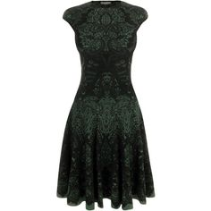 Alexander McQueen Emerald Victorian Puckering Lace Jacquard A-Line Dress ($2,725) found on Polyvore