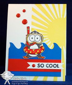 Your Next Stamp card/project by  Julie using Awesome Journal Words, YNS Gumdrops, Wave Border Die and Snorkel Fun Penguin