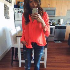 H&M neon blouse Neon orange. Great light weight summer/spring shirt! Brighten up your wardrobe  H&M Tops Blouses