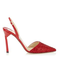 Red Coarse Glitter Fabric and Patent Pointy Toe Sling Backs | Devleen | Cruise 15 Vices | JIMMY CHOO Vices
