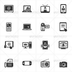 Black Electronics Icons — Photoshop PSD #Television Camera #photography • Available here → https://graphicriver.net/item/black-electronics-icons/3418475?ref=pxcr